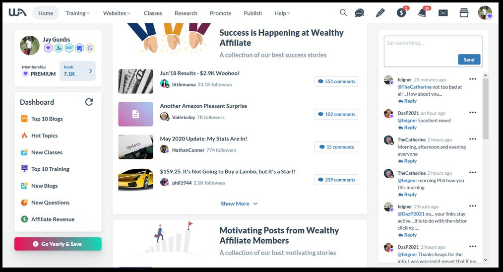 Wealthy affiliate dashboard